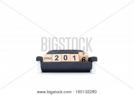 New year concept , Word 2016 on wood block and moving to the word 2017