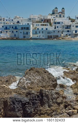 Amazing Panorama of town of Naoussa, Paros island, Cyclades, Greece