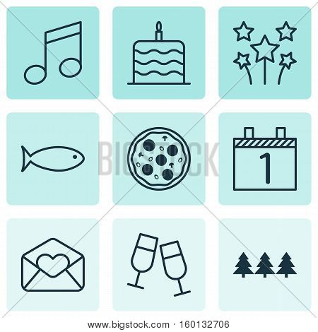 Set Of 9 New Year Icons. Can Be Used For Web, Mobile, UI And Infographic Design. Includes Elements Such As Christmas, Agenda, Glasses And More.