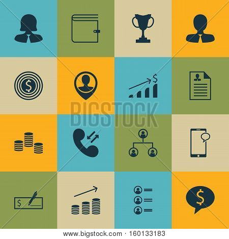 Set Of 16 Management Icons. Can Be Used For Web, Mobile, UI And Infographic Design. Includes Elements Such As Goal, Tree, Growth And More.