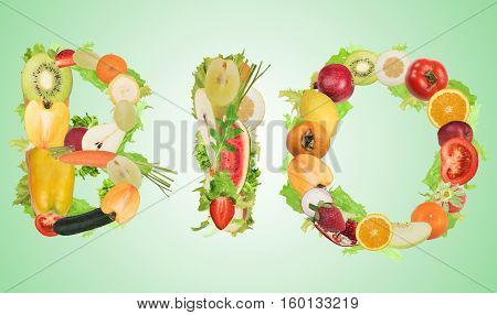Fruit and vegetables forming the word bio. Healthy Bio food for wellness concept