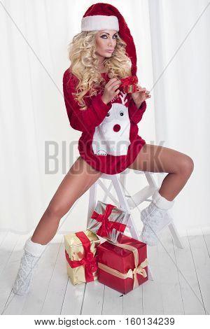 Woman In Christmas Mood.