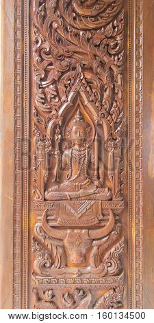 Asian wood carved in temple Thailand.Art in temple.