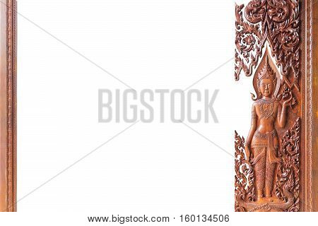 Asian wood carved on white background. Thailand.
