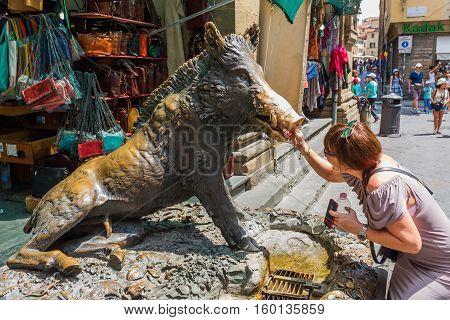 Bronze Fountain Il Procellino In Florence, Italy