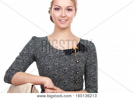A young woman sitting isolated on white background.