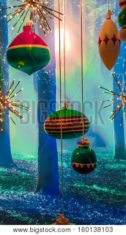Magic fairytale Christmas forest with colorful decorations