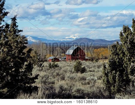 An old red barn in Powell Butte in Central Oregon framed between two juiniper trees with the Cascade Mountains in the background on a winter day.