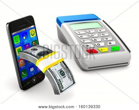 payment terminal and cash on white background. Isolated 3d image