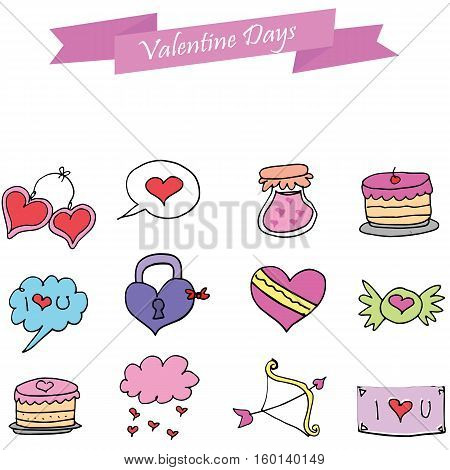 Object valentine day vector art collection stock
