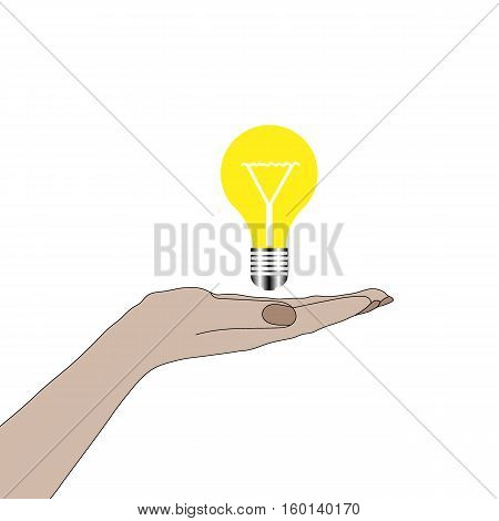 Hand holding lightbulb concept. Business idea, solution innovative technology. Creative ideas. Vector illustration. Electric lamp in hand. Invention, eureka.