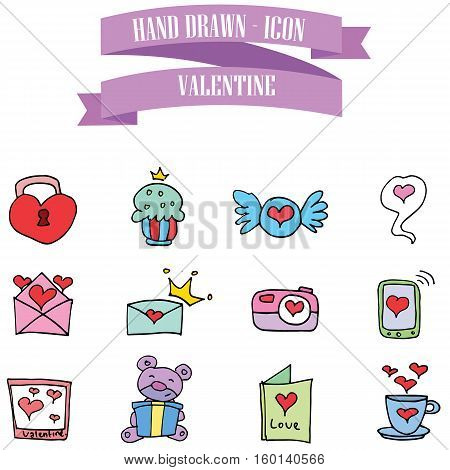 Collection stock object valentine vector art illustration