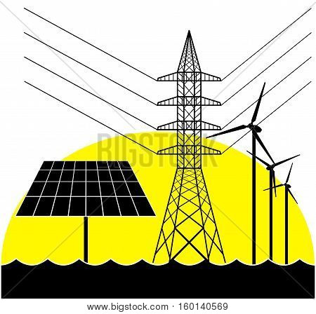 Silhouettes Of The Electricity Pylon, Solar Panel And Wind Turbines.