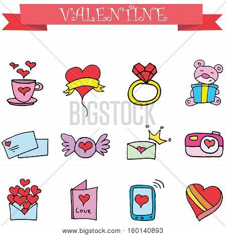 Object valentine day collection stock vector illustration