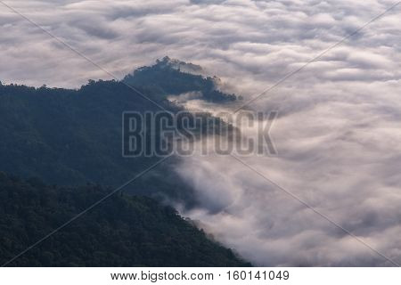 Landscape with the mist at Pha Tung mountain in sunrise time Chiang Rai Thailand.