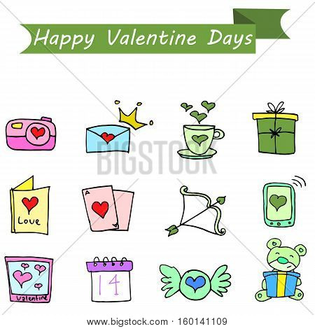 Valentine day element vector art collection stock