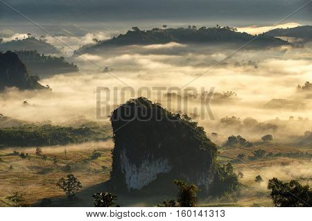 Beautiful Sunrise of travel place with morning mist at Phu Langka National Park in Phayao Province Thailand