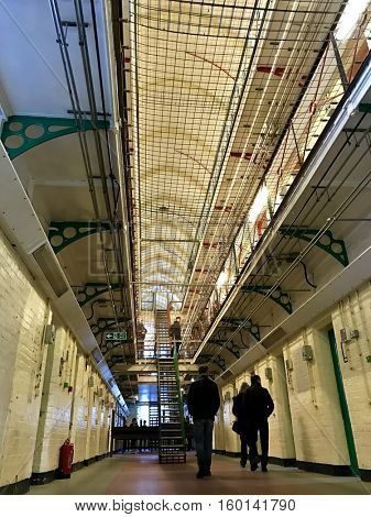 "READING - DECEMBER 4: The exhibition ""INSIDE - Artists and Writers in Reading Prison"" on December 4, 2016 in Reading, UK. The Prison was decommissioned in 2013 and opened to the public by Artangel."