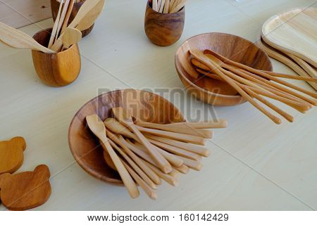 the vintage kitchenware made from the wood