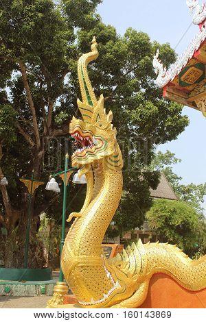 Thai dragon or king of Naga statue