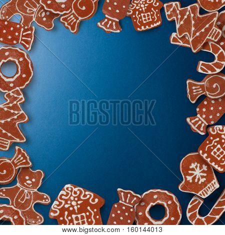 Frame of gingerbread cookies