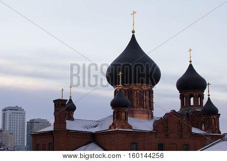 KAZAN, RUSSIA, 19 NOVEMBER 2016, ortodox Old believers ' Church on peterburgskaya stree in winter cold day, horizontal