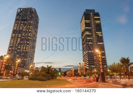 Barcelona, Spain - September 17, 2016; Olympic Port district Barcelona Hotel Arts and Mapfre Tower in Barcelona Spain. The Hotel Arts is a 44-story 483 room luxury hotel and its twin Mapfre Tower an office building