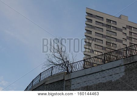 Architectural background: modern building in high hill with dead dried tree, horizontal