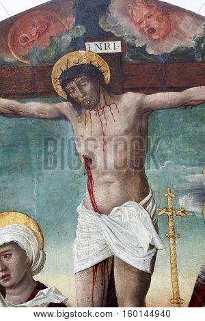 ZAGREB, CROATIA - DECEMBER 12: Gianfrancesco da Tolmezzo: Crucifixion with Saints, exhibited at the Great Masters Renaissance in Croatia, opened December 12, 2011. in Zagreb, Croatia