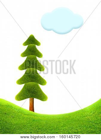 Christmas tree. Fantastic landscape. 3D illustration