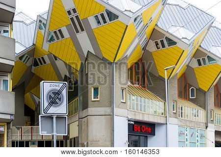 ROTTERDAM, Netherlands - November 12, 2016 : Cube houses Street view of Rotterdam City Netherlands. back to 1270 when a dam was constructed in the Rotte river by people settled around it for safety.
