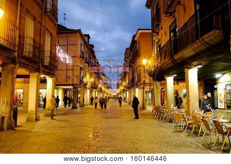 Alcala De Henares, Madrid, Spain- December 5, 2016: The Mayor Street In Christmas