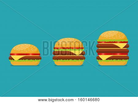 Three hamburgers set. From simple hamburger to double and triple cheeseburger with tomato