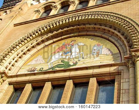 Facade of St George's Greek Orthodox Church in Toronto Canada November 17 2015