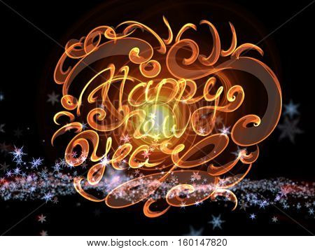 Happy new year words lettering written with fire flame or smoke on bright space background with planet.