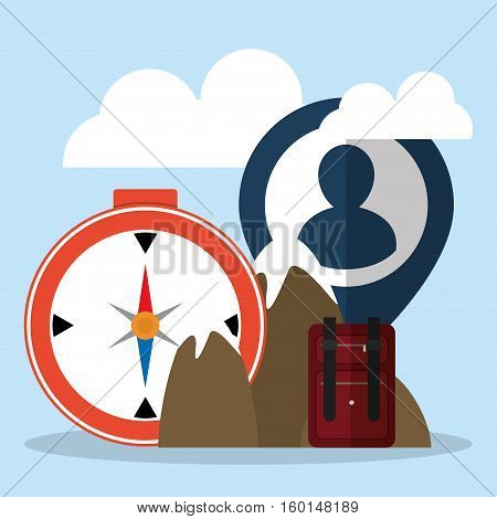 travel tourism mountain compass suitcase person pin map vector illustration eps 10
