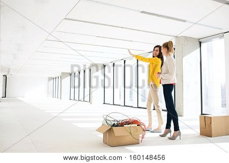 Young businesswoman discussing with female colleague in new office