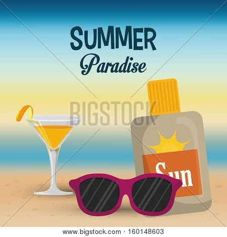 summer paradise beach cocktail sunglasses and sun blocker vector illustration eps 10