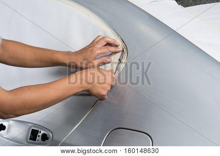 Auto body repair series : Masking car before repaint