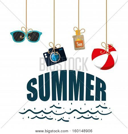 poster summer hanging ball camera sun blocker glasses vector illustration eps 10