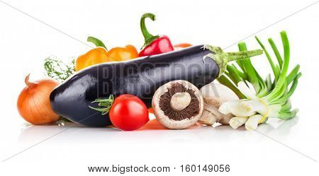 Fresh vegetables with greens and mushroom. Isolated on white background