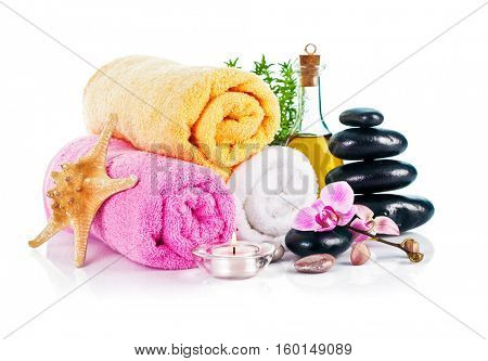 Spa still life with candle isolated on white background