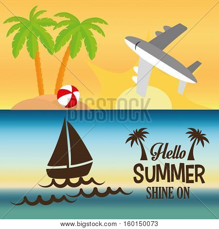 hello summer card shine one two banner vector illustration eps 10
