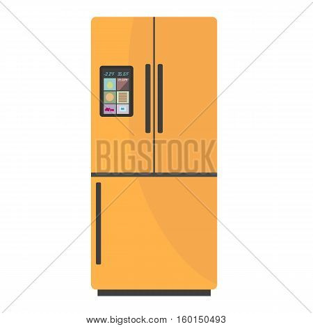 Modern smart fridge with display on isolated background. Home appliances refrigerator fridge freezer vector illustration.