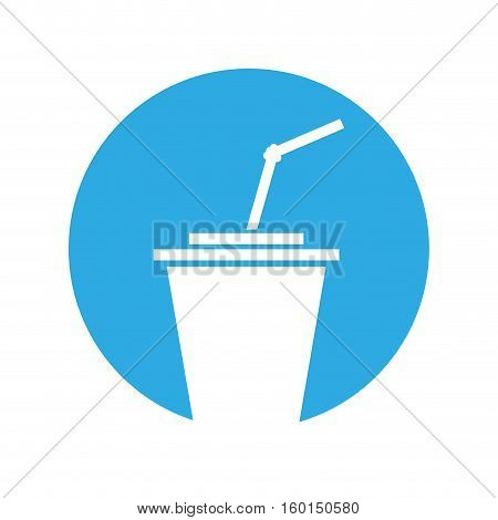 plastic cup straw portable outline with color circle vector illustration eps 10