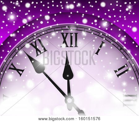 New Year And Christmas Concept With Vintage Clock Violet Style. Vector Illustration