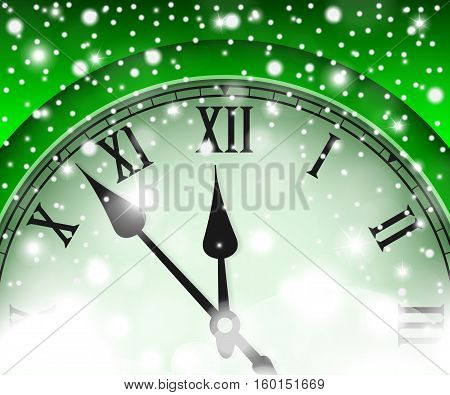 New Year And Christmas Concept With Vintage Clock Green Style. Vector Illustration