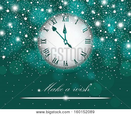New Year And Christmas Concept With Vintage Clock Turquoise Style. Vector Illustration