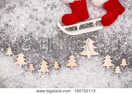 Christmas greeting card. Noel festive background. New year symbol. Santa sleigh.