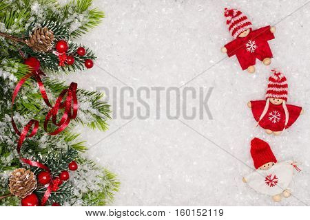 Christmas greeting card. Christmas border with copy space. Noel festive background. New year symbol. Children playing theme.